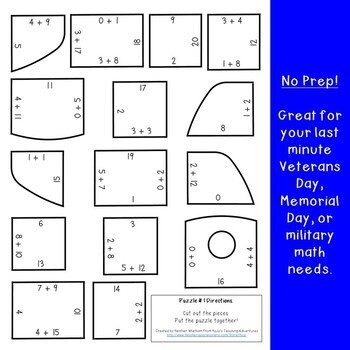 ADDITION Dog Tag Puzzles: Veterans Day Activities | FUN Veterans Day Math Center