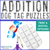 ADDITION Dog Tag Puzzles | Veterans Day Worksheet Alternative or Activity