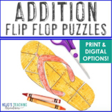 ADDITION End of Year Math Project: Flip Flop Math Puzzle Game