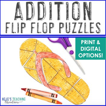 ADDITION Flip Flop Puzzles | Spring Math Games or Summer Centers