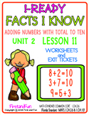 ADDITION FACT TO 10 i READY MATH WORKSHEETS AND EXIT TICKETS UNIT 1 LESSON 11