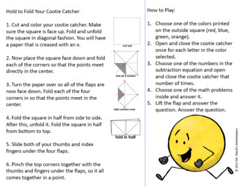 Subtraction Fact Fluency Cootie Catcher/Fortune Teller BUNDLE- Facts for 0-10