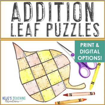 ADDITION Fall Activities | Leaf Shape Math Puzzles | FUN Tree Study Supplement