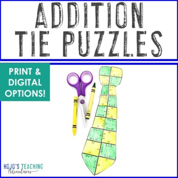 ADDITION Tie Activity | Great for Father's Day Math Games, Centers, or Craft