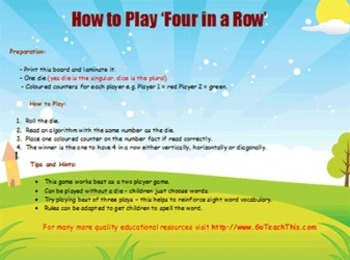 'ADDITION GAME' - Basic Facts Addition Game -  'Four in a Row' - Heaps of Fun!