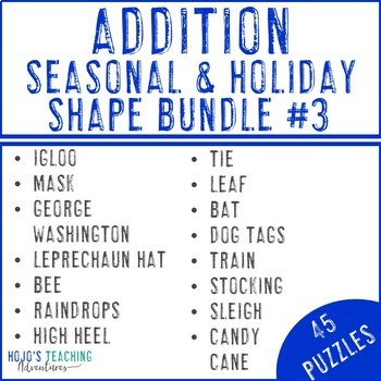 ADDITION Holiday & Seasonal Math Centers with FUN Winter Activities or Games