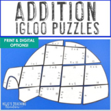 ADDITION Igloo Winter Math Puzzles | FUN January Activities or Games