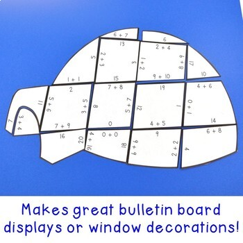 ADDITION Igloo Winter Math Puzzles   FUN January Activities or Games