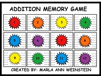 Addition Memory Game