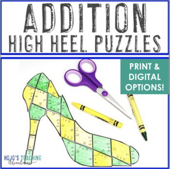 ADDITION High Heel Puzzles   FUN Mothers Day Math Centers, Games, or Activities