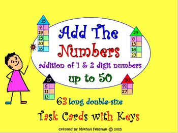 ADDITION OF 1 & 2 DIGIT NUMBERS: 63 TASK CARDS & KEY, Test Quiz Prep Worksheets
