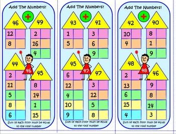 ADDITION OF 1 & 2 DIGIT NUMBERS: 63 TASK CARDS & KEY, Test Quiz Prep Worksheets