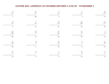 ADDITION OF NUMBERS BETWEEN 1 AND 20 – Worksheet 1
