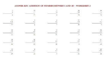 ADDITION OF NUMBERS BETWEEN 1 AND 20 – Worksheet 2