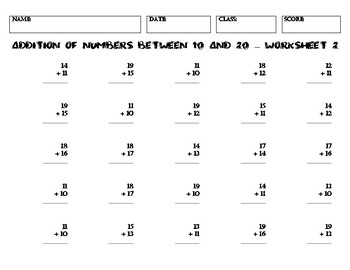 ADDITION OF NUMBERS BETWEEN 10 AND 20 – Worksheet 2