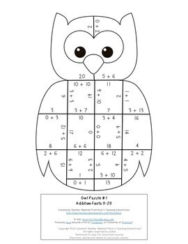 ADDITION Owl Math Puzzles | Fall Themed Activity Centers | Fall Math Centers