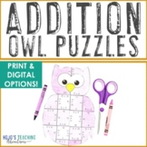 ADDITION Owl Math Games, Centers, Worksheet Alternatives, or Puzzles