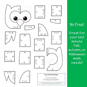 ADDITION Owl Theme Puzzles - Fall Math Games, Centers, or Worksheet Alternatives