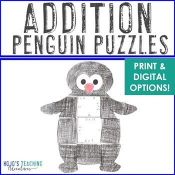 ADDITION Penguin Math Activities or Winter Craftivity | January Morning Work
