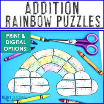 ADDITION Rainbow Activities | FUN Spring Math Worksheet Alternative Game
