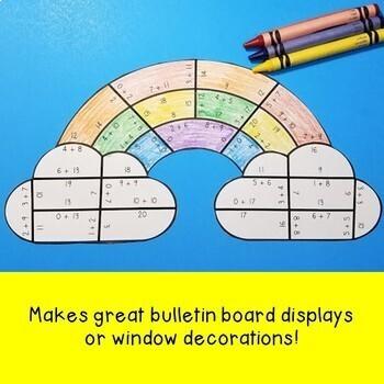 ADDITION Rainbow Activities   FUN Spring Math Worksheet Alternative Game