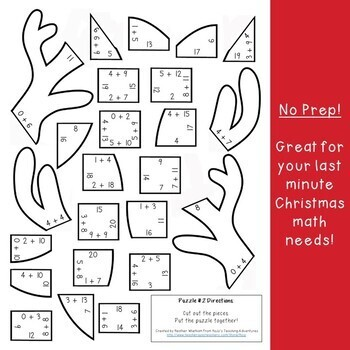 ADDITION Reindeer Math Puzzles | FUN Christmas Worksheet Alternatives or Games