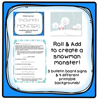 ADDITION Roll a Snowman Monster Craftivity & Silly Engaging I Have Who Has
