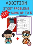 ADDITION STORY PROBLEMS SUMS UP TO 5 SUMMER THEME