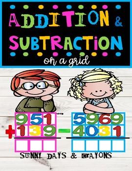 ADDITION & SUBTRACTION ON A GRID  Worksheets and Task Cards Bundle!