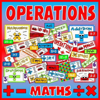 ADDITION SUBTRACTION MULTIPLICATION DIVISION  OPERATIONS KS1-2 WITH FACES