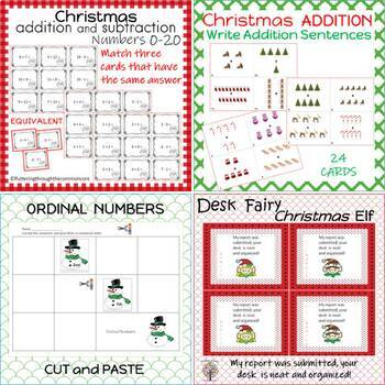 First Grade Math CHRISTMAS BUNDLE