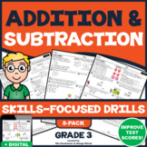 ADDITION & SUBTRACTION (WITHIN 1000) UNIT! Skills Practice Worksheets