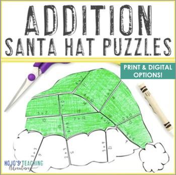 addition santa hat puzzles fun christmas santa math coloring sheet alternative