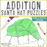 ADDITION Santa Hat Puzzles - FUN Christmas Math Coloring Page Alternatives