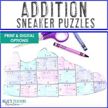 ADDITION Sneaker Math Puzzles | FUN Sports Math Centers for Review or Games