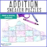 ADDITION Sneaker Math Puzzles | FUN Sports Math Centers fo