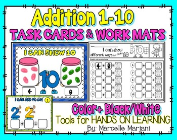 ADDITION TASK CARDS & WORK MATS- NUMBERS 1-10