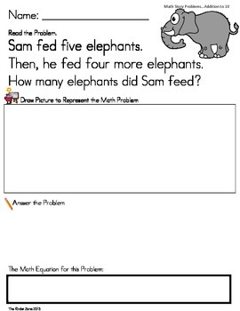 ADDITION TO 10 MATH WORD PROBLEMS **ZOO UNIT** READ.DRAW.ANSWER IT!