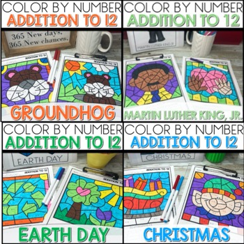 ADDITION TO 12 COLOR BY NUMBER GROWING BUNDLE Holiday Themed