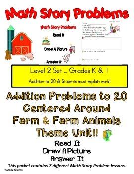 ADDITION TO 20 MATH WORD PROBLEMS **FARM UNIT** READ.DRAW.