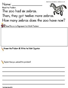 ADDITION TO 20 MATH WORD PROBLEMS SET * ZOO UNIT* READ.DRAW.ANSWER.EXPLAIN IT!