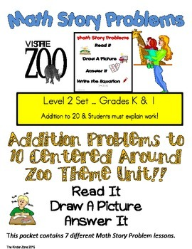 ADDITION TO 20 MATH WORD PROBLEMS SET * ZOO UNIT* READ.DRA