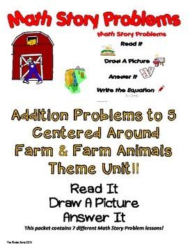 ADDITION TO 5 MATH WORD PROBLEMS **FARM UNIT**READ.DRAW.AN