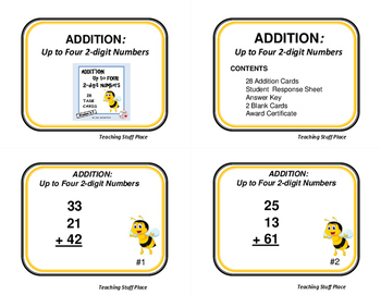 ADDITION | Up to four 2-digits| MATH PRACTICE Task Cards| Scoot GAME | Gr. 2-3