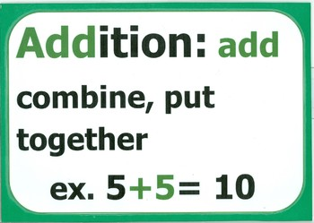 ADDITION Vocab Card