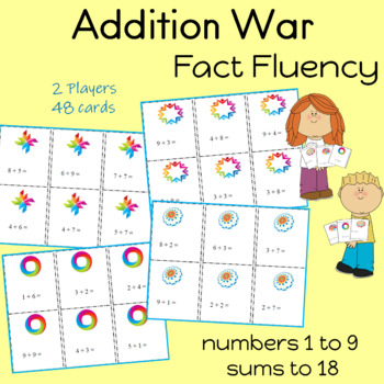 """ADDITION Card Game """"WAR"""" Fact Practice"""