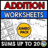 ADDITION WORKSHEETS PICTURES AND NUMBERS (KINDERGARTEN MAT