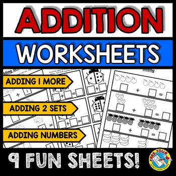 KINDERGARTEN ADDITION WORKSHEETS (PRESCHOOL MATH WORKSHEETS PICTURE ADDITION)
