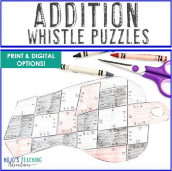 ADDITION Whistle Math Puzzles | Sports Theme Classroom Bulletin Board Supplement