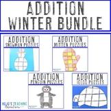ADDITION Winter Math Centers - Penguin, Snowman, Mitten, & Igloo Activities